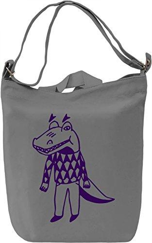 Doodle crocodile Borsa Giornaliera Canvas Canvas Day Bag| 100% Premium Cotton Canvas| DTG Printing|