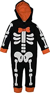 Funstuff Baby Boys' Fleece Skeleton Costume Coverall Hood