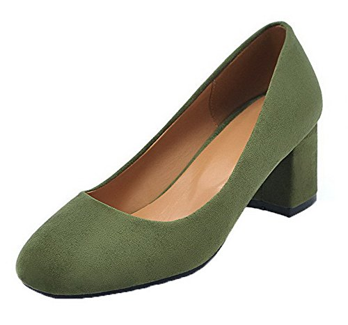 Pull Kitten Closed Solid Toe On Women's Shoes WeenFashion Round Heels Pumps Green Frosted 8IAx5Fqw