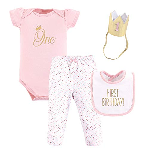 Hudson Baby Baby First Birthday Outfit, 4 Piece, One, 12 Months 1st Birthday Girl Bib