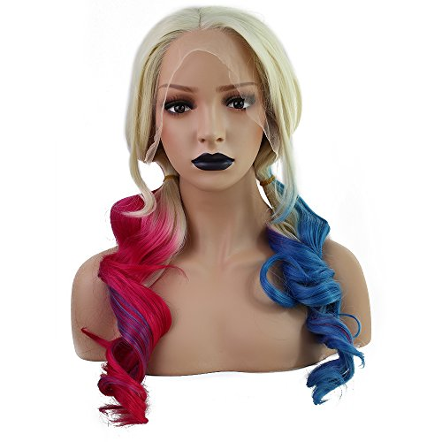 Price comparison product image Anogol Hair Cap+Synthetic Lace Front Wig Blonde Ombre Red Mix Blue Long Wavy 2 Ponytails Heat Resistant Party Hair Halloween Cosplay Wigs Costume