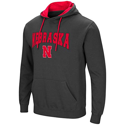 Colosseum Men's NCAA-Scoreboard-Dual Blend-Fleece Hoodie Pullover Sweatshirt-Charcoal-Nebraska Cornhuskers-Large