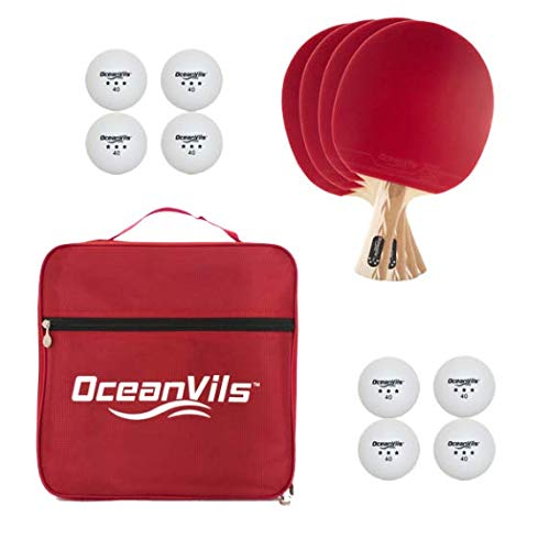 Ping Pong Paddle Set of 4 With Balls and Case - High Performance Professional Ping Pong Paddle Set 4 Player Bundle | Includes 4 Pcs Table Tennis Paddles, 8 Pcs Ping Pong Balls, Carrying Case
