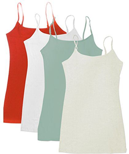 4 Pack: Active Basic Cami Tanks in Many Colors (2X, Oatmeal/Coral/Mint/White)