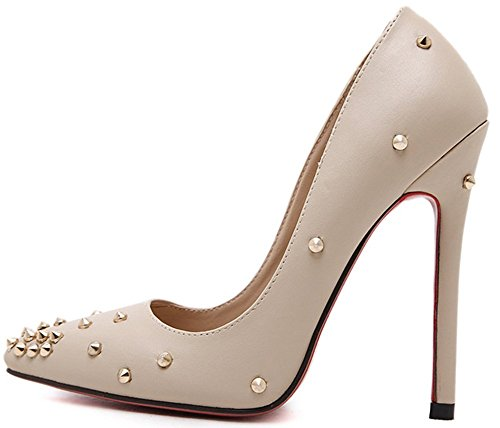 Easemax Womens Fashion Stiletto Rivet Pointed Toe Low Top Slip On High Heel Pumps Shoes Apricot iC8qJBbOXK