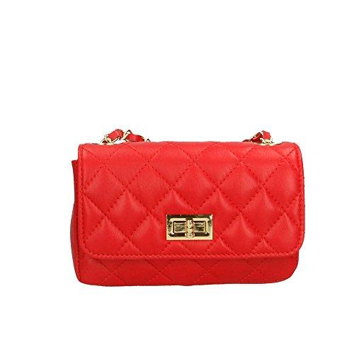 Aren Mujer bolsa de hombro en cuero genuino Made in Italy - 19x12x5 Cm Rojo