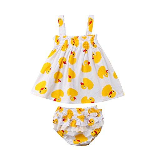 - YAZAD Infant Toddler Newborn Baby Girls Duck Pattern Summer Camisole Tank Tops Sleeveless Bubble Dress + Shorts Bottoms Briefs (80/6-12M, White)