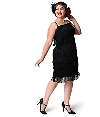Unique Vintage Plus Size 1920s Style Black Speakeasy Tiered Fringe Flapper Dress