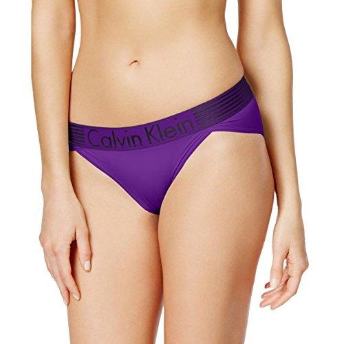 Calvin Klein Womens Striped Thick Band Bikini Panty Purple S