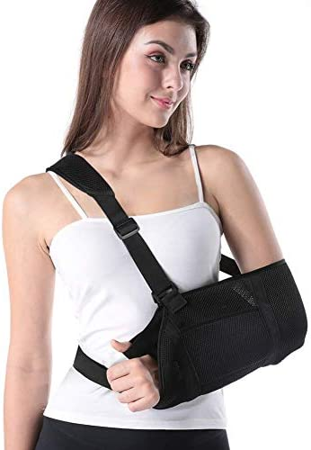 Arm Sling Support Strap, Adjustable Shoulder Wrist Elbow Sling Immobilizer, with Thumb Loop as well as Waistband, Provide Stabilization for Rotator Cuff Injury, Fit Men as well as Women, Left as well as Right Hand