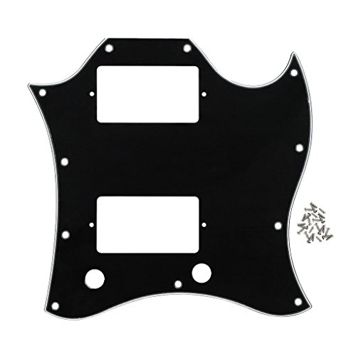 Gibson Style Guitars (FLEOR Scratch Plate SG Full Face Guitar Pickguard With Screws for Gibson Style Guitar,3-Ply Black/White/Black)