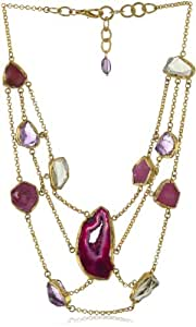 """Zariin """"Cleopatra Statement"""" Pink Agate and Ruby Bib Necklace"""