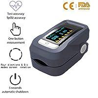 Charlemain 4 en1 Oxímetro de Dedo, pulsioximetro Lector Digital de Instantánea, Monitor de Oxigenación Sangre y Frecuencia Corazón Operación con un Solo botón- Aprobado por FDA&CE (Gris)