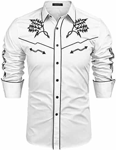 fd028fa37f2 COOFANDY Mens Western Cowboy Shirt Embroidered Denim Long Sleeve Casual  Button Down Shirt