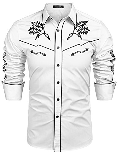 COOFANDY Men's Long Sleeve Embroidered Shirt Casual Slim Fit Button Down Western Shirts ,White ,Large ()