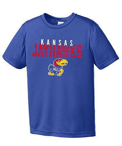 NCAA Kansas Jayhawks Youth Boys Destroyed Short sleeve Polyester Competitor T-Shirt, Youth ()