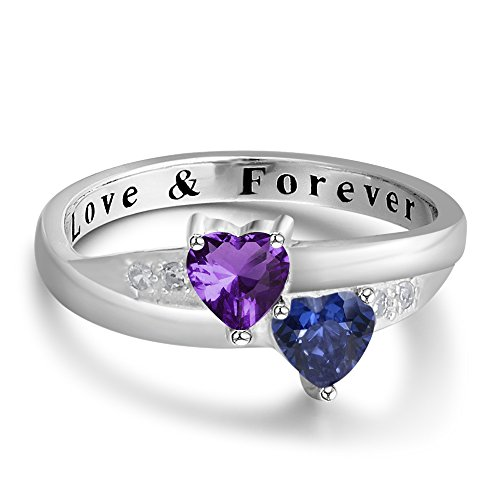 personalized-love-forever-engagement-heart-rings-couples-sumilated-birthstones-promise-rings-for-her