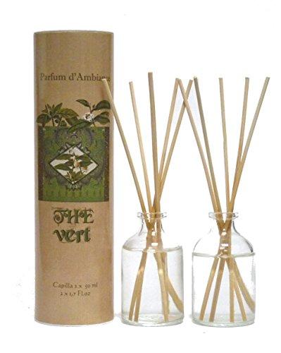 Provence et Nature: Grüner Tee (Thé Vert) Raumbedufter (Raumduft) mit Holzstäbchen, 2 x 50 ml Glasflaschen