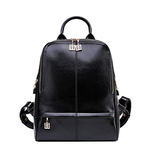 1b8d08dbecb BOYATU Real Leather Backpack Purse for Women Stylish College School Ladies  Bags(Black) by