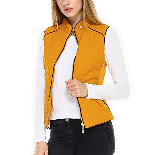 Fashionazzle Women's Lightweight Suede Contrast Quilted Vest Padding Jacket (3X, AV01-Mustard)