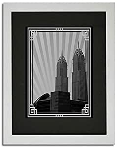 Al Kazim Towers Metro - Black And White With Silver Border No Text F02-nm (a4) - Framed