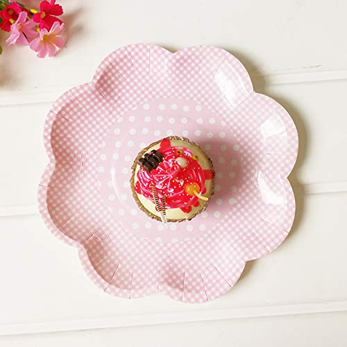 24 Tea Party Dessert Plates Set Pink Party Paper Plates and 20g Pink Confetti Girl Baby Shower Birthday Paper Plates HStyle
