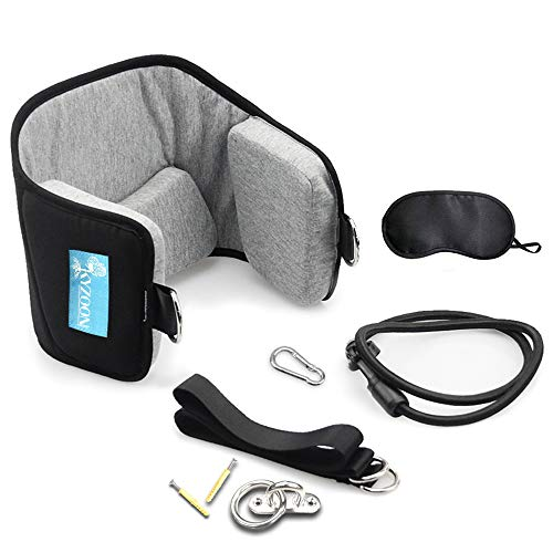 Kyzoon Neck or Head Portable Cervical Traction Device for Neck Pain Relief and Physical Therapy Eye Mask and Fixed Fitting(Black)
