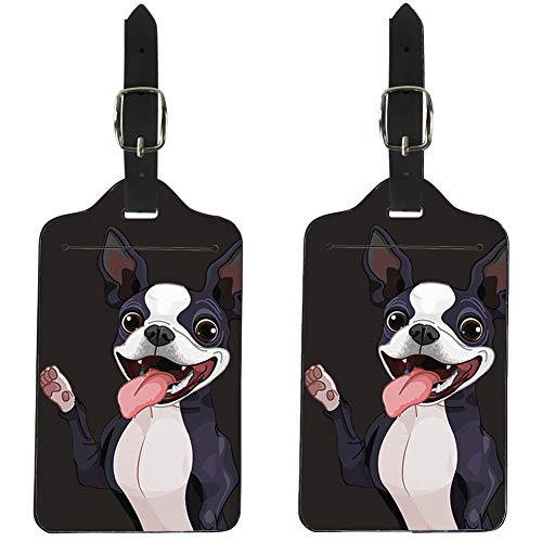 Upetstory 2 Pcs Boston Terrier Luggage Tag Suitcase Bag Label Pu Leather with Adjustable buckle for Women (Terrier Luggage Tag Boston)