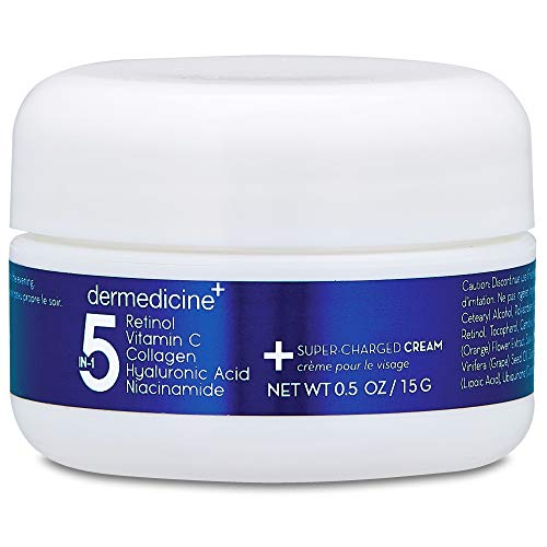 (5 in 1 Retinol, Vitamin C, Collagen, Hyaluronic Acid, Niacinamide | Potent Face Cream which May Help Improve Appearance Fine Lines and Wrinkles and Reduce Appearance of Dark Spots | Trial .5oz)