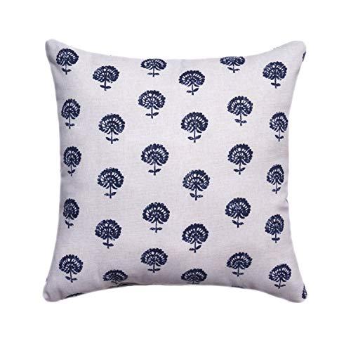 Indigo Tan Hand Block Print Decorative Designer Pillow Cover Accent Cushion Cover Boho Style Navy Blue Natural Cream Floral Pillow