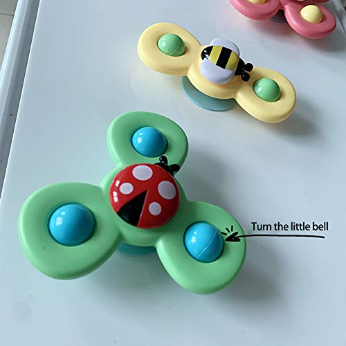 3 Pcs Baby Bath Spinner Toy with Rotating Suction Cup, Baby Bath Toys Cartoon Animal Rotating Suction Cups Eating Suction Cups Dining Chairs Toys Bath Toys (3 Pcs)