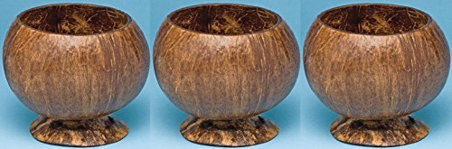 - Real Coconut cups (with bases) - set of 3 genuine Coconut shell cups