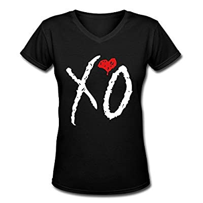 CLING Women's XO The WEEKND V-Neck T-shirt Black M