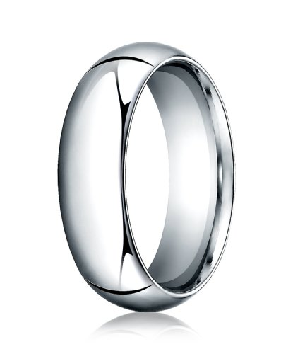 Mens 14K White Gold, 7.0mm Hig