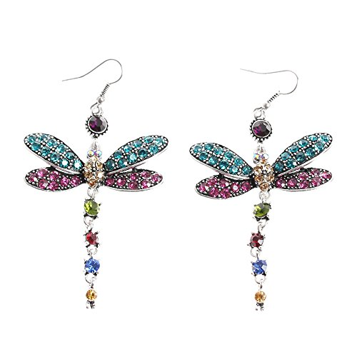 GSM Accessories Womens Vintage Rhinestone Dragonfly Alloy Dangle Drop Earrings ER078-Multicolor (Multi Vintage Earrings Rhinestone Color)