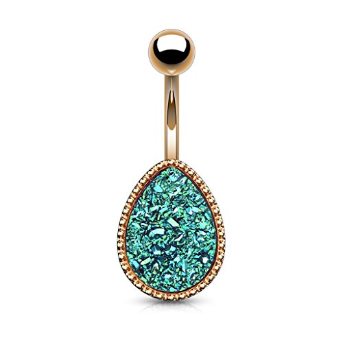 Pierced Owl Druzy Stone Tear Drop Rose Gold Plated 316L Surgical Steel Belly Button Navel Ring (Green)