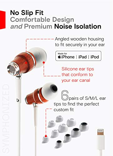 Symphonized NRG MFI Earbuds, Certified Lightning Earbuds Compatible with Apple iPhone/iPad/iPod, Premium Genuine Bubinga Wood in-Ear Noise Isolating Earphones, Stereo Wired Headphones (White)