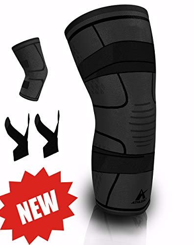 Knee Brace Compression Sleeve with 2 Support Straps for Joint Pain Relief, Injury Recovery and Protection, Best for Arthritis and Running & Sports Injuries (Black, X-Large)