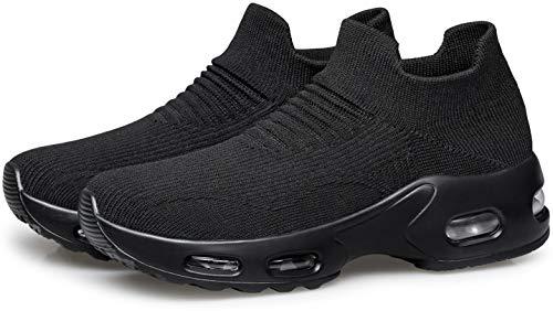 DOUSSPRT Womens Walking Shoes Slip on Sock Sneakers Lady Girls Nurse Mesh Air Cushion Platform Loafers Fashion Casual Black US Size 9 9.5