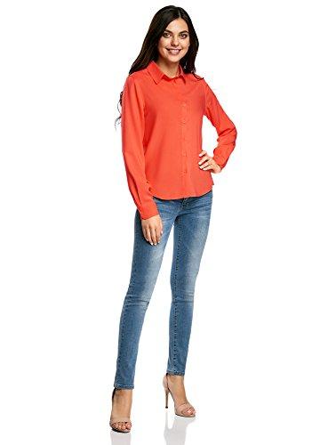 oodji Ultra Mujer Blusa Básica de Viscosa Naranja (5500N)