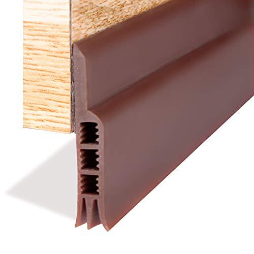 Under Door Draft Blocker, Door Draft Stopper Door Sweep Door Threshold Bottom Seal Weather Stripping for Doors Noise Stopper Prevent Bugs(Brown 2