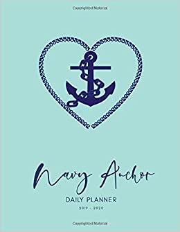 Amazon com: 2019 2020 15 Months Navy Anchor Daily Planner