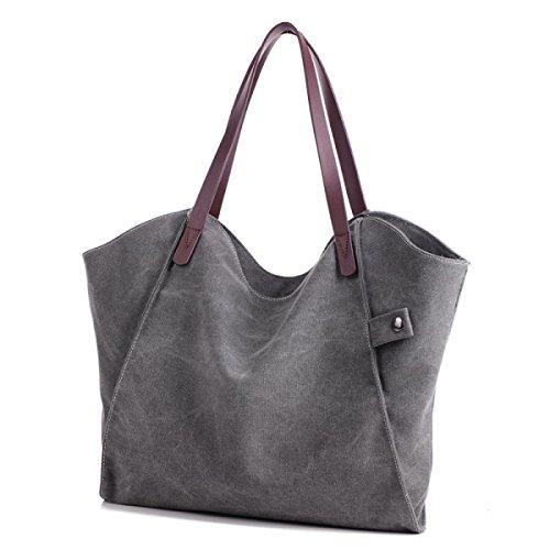 Frauen Jahrgang Leinwand Schulter Aktentasche Messenger Handtasche Einkaufen Die Universelle Einsatz Tasche ,Grey-37cm*3cm*31cm
