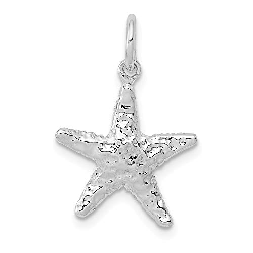 - 14k White Gold 3 Dimensional Starfish Pendant Charm Necklace Sea Shore Shell Life Man Fine Jewelry Gift For Dad Mens For Him
