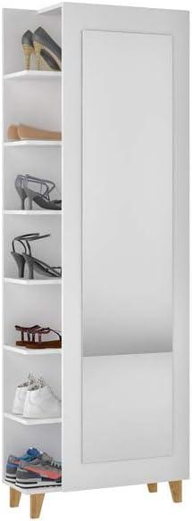 Manhattan Comfort 131AMC Minetta 14-Pair Mid Century Shoe Closet in White