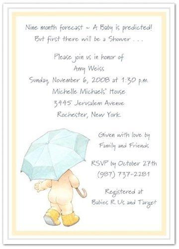 Umbrella and Rain Booty Baby Shower Invitations - Set of 20