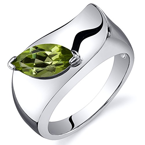 Peridot Ring Sterling Silver Marquise Shape 1.00 Carats Size 8