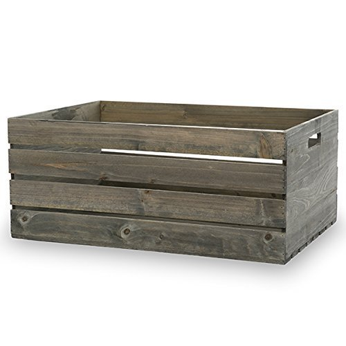 The Lucky Clover Trading Antique Wooden Storage Crate with inside Handles, XX-Large, Grey (Storage Crate Wooden)