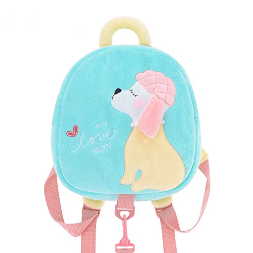 Me Too Kids Leash Bags Toddler Plush Backpack with Safety Harness Playful Preschool Kids Baby Snacks Bag for Little Children(12-36M) Blue Poodle Dog 10.5'' ...