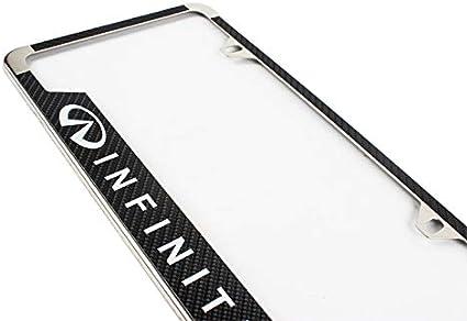 2 Lolosale Carbon Fiber Vinyl Decal Stainless Steel Metal Sport License Plate Frame Cover Holder for Infiniti